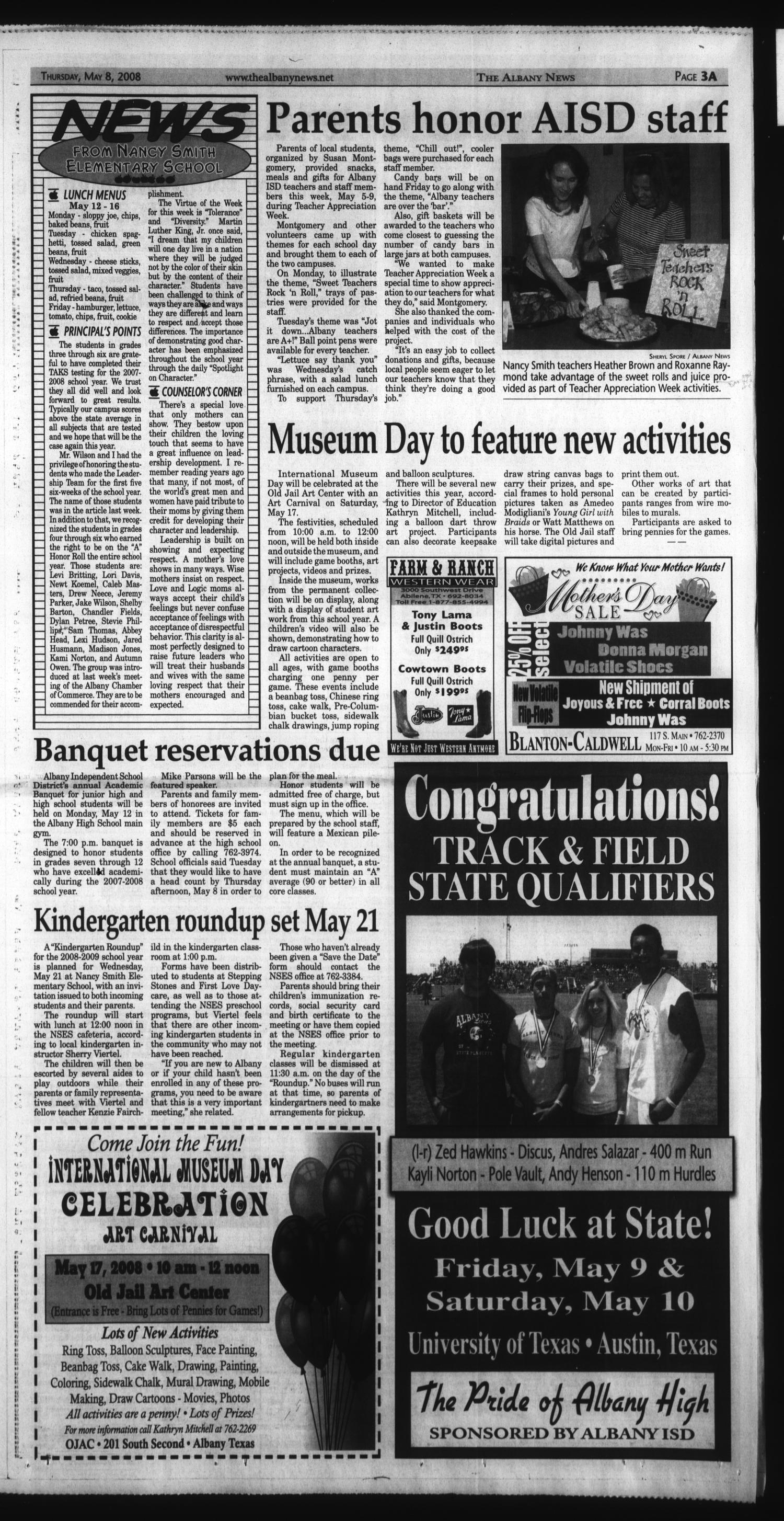 The Albany News (Albany, Tex.), Vol. 132, No. 50, Ed. 1 Thursday, May 8, 2008                                                                                                      [Sequence #]: 3 of 28