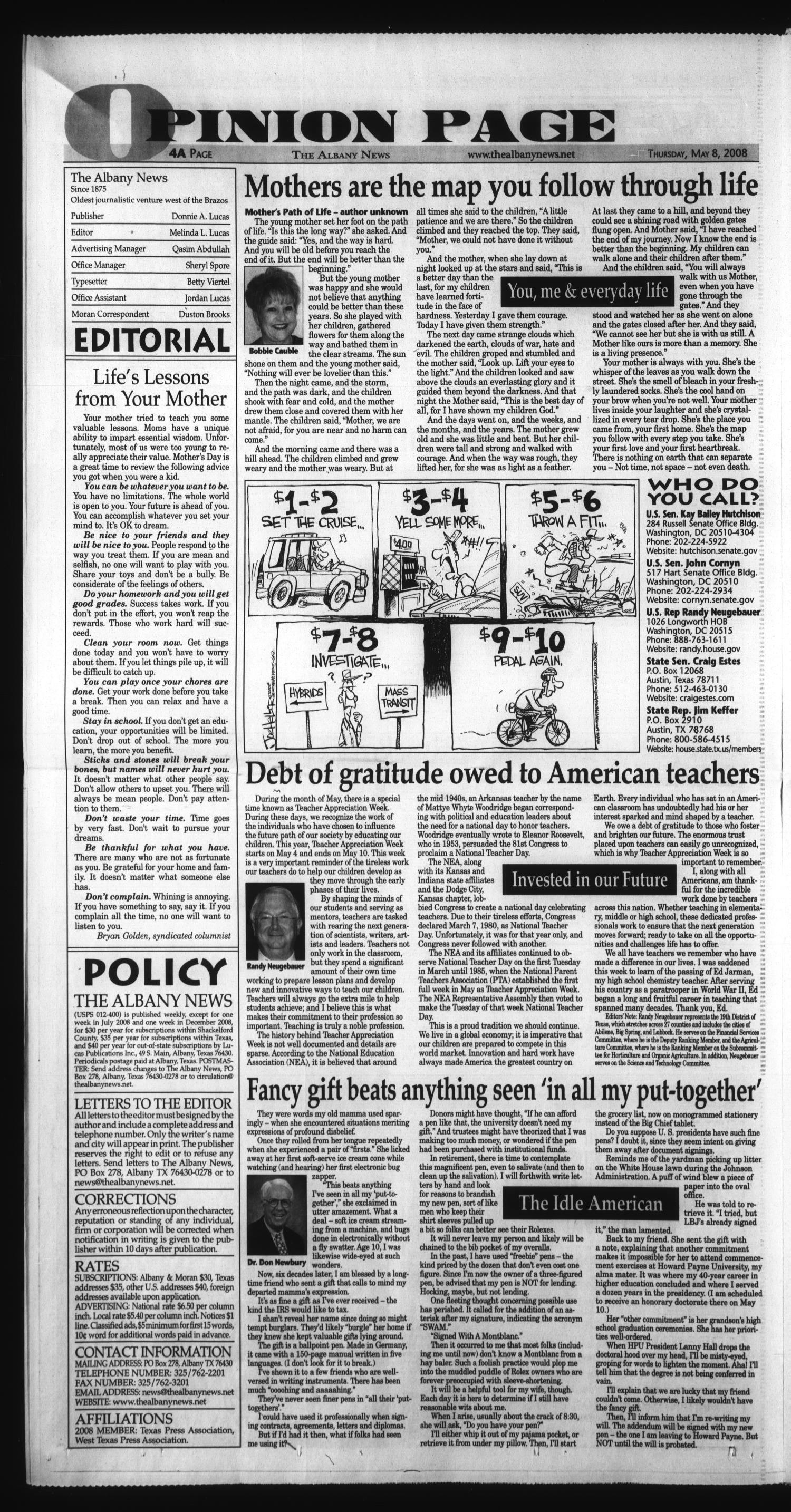 The Albany News (Albany, Tex.), Vol. 132, No. 50, Ed. 1 Thursday, May 8, 2008                                                                                                      [Sequence #]: 4 of 28