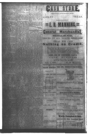 Primary view of object titled 'The Albany Echo. (Albany, Tex.), Vol. [1], No. [19], Ed. 1 Saturday, September 29, 1883'.