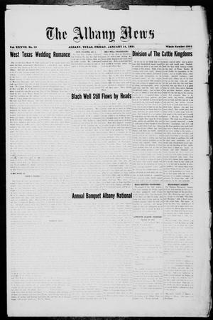 Primary view of object titled 'The Albany News (Albany, Tex.), Vol. 37, No. 30, Ed. 1 Friday, January 14, 1921'.