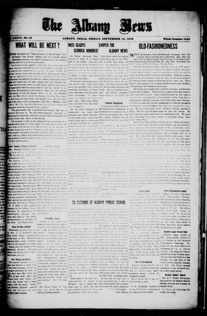 Primary view of object titled 'The Albany News (Albany, Tex.), Vol. 36, No. 13, Ed. 1 Friday, September 12, 1919'.