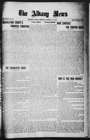 Primary view of object titled 'The Albany News (Albany, Tex.), Vol. 34, No. 41, Ed. 1 Friday, March 15, 1918'.
