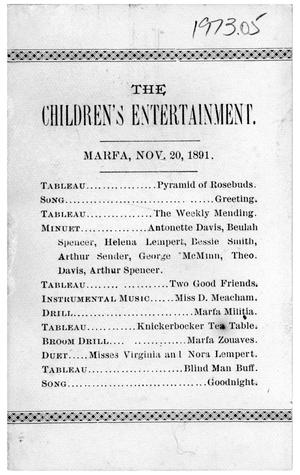 Primary view of object titled 'The Children's Entertainment'.