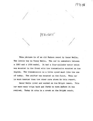 Primary view of object titled 'Paper about early Cars in Marfa'.
