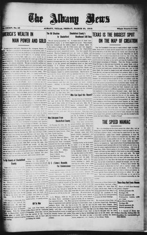Primary view of object titled 'The Albany News (Albany, Tex.), Vol. 34, No. 42, Ed. 1 Friday, March 22, 1918'.