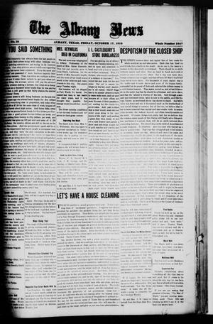 Primary view of object titled 'The Albany News (Albany, Tex.), Vol. 36, No. 18, Ed. 1 Friday, October 17, 1919'.