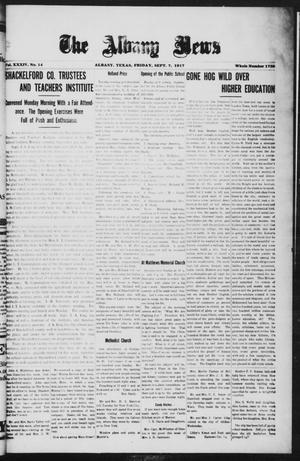 Primary view of object titled 'The Albany News (Albany, Tex.), Vol. 34, No. 14, Ed. 1 Friday, September 7, 1917'.
