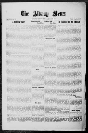 Primary view of object titled 'The Albany News (Albany, Tex.), Vol. 35, No. 32, Ed. 1 Friday, January 17, 1919'.