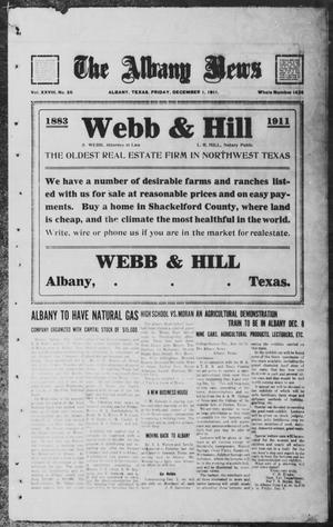 Primary view of object titled 'The Albany News (Albany, Tex.), Vol. 28, No. 26, Ed. 1 Friday, December 1, 1911'.