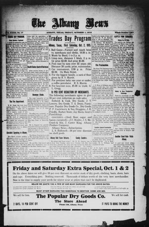 Primary view of object titled 'The Albany News (Albany, Tex.), Vol. 32, No. 17, Ed. 1 Friday, October 1, 1915'.