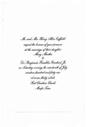 Primary view of object titled 'Wedding invitation of Mary Martha Coffield to Benjamin Gearhart'.