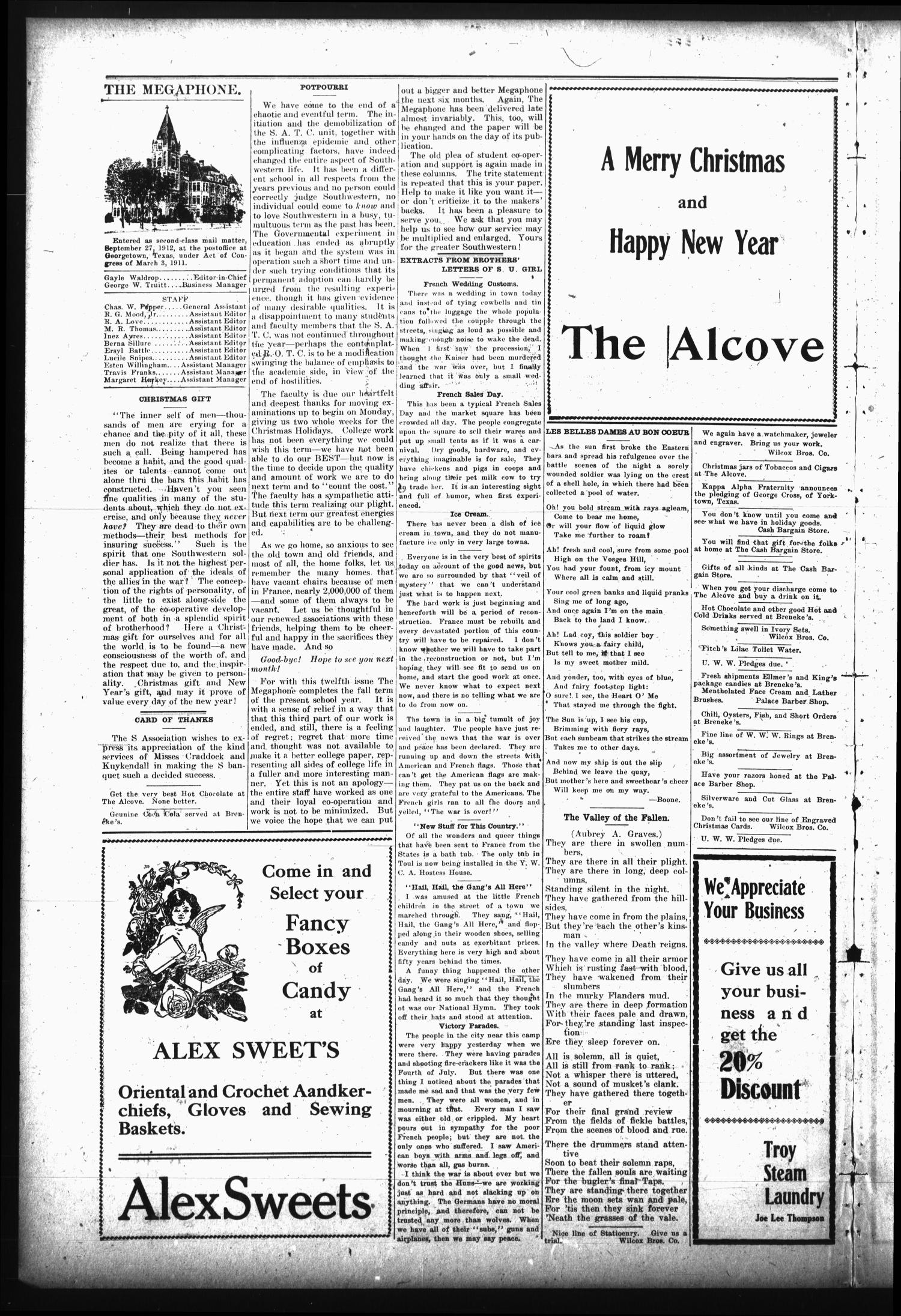 The Megaphone (Georgetown, Tex.), Vol. 12, No. 12, Ed. 1 Tuesday, December 17, 1918                                                                                                      [Sequence #]: 2 of 4