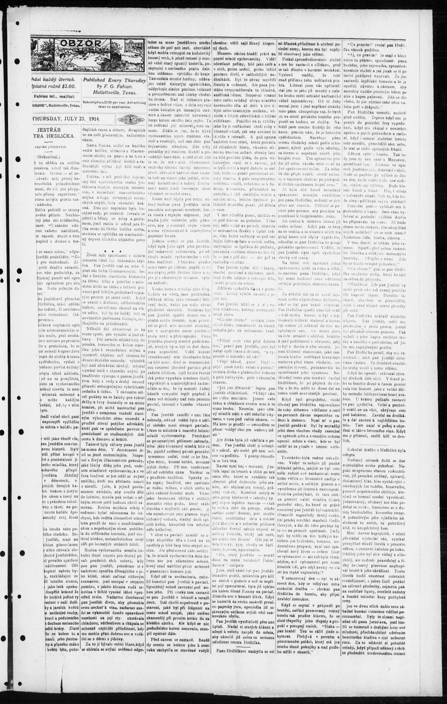 Obzor (Hallettsville, Tex.), Vol. 23, No. 50, Ed. 1 Thursday, July 23, 1914                                                                                                      [Sequence #]: 3 of 6