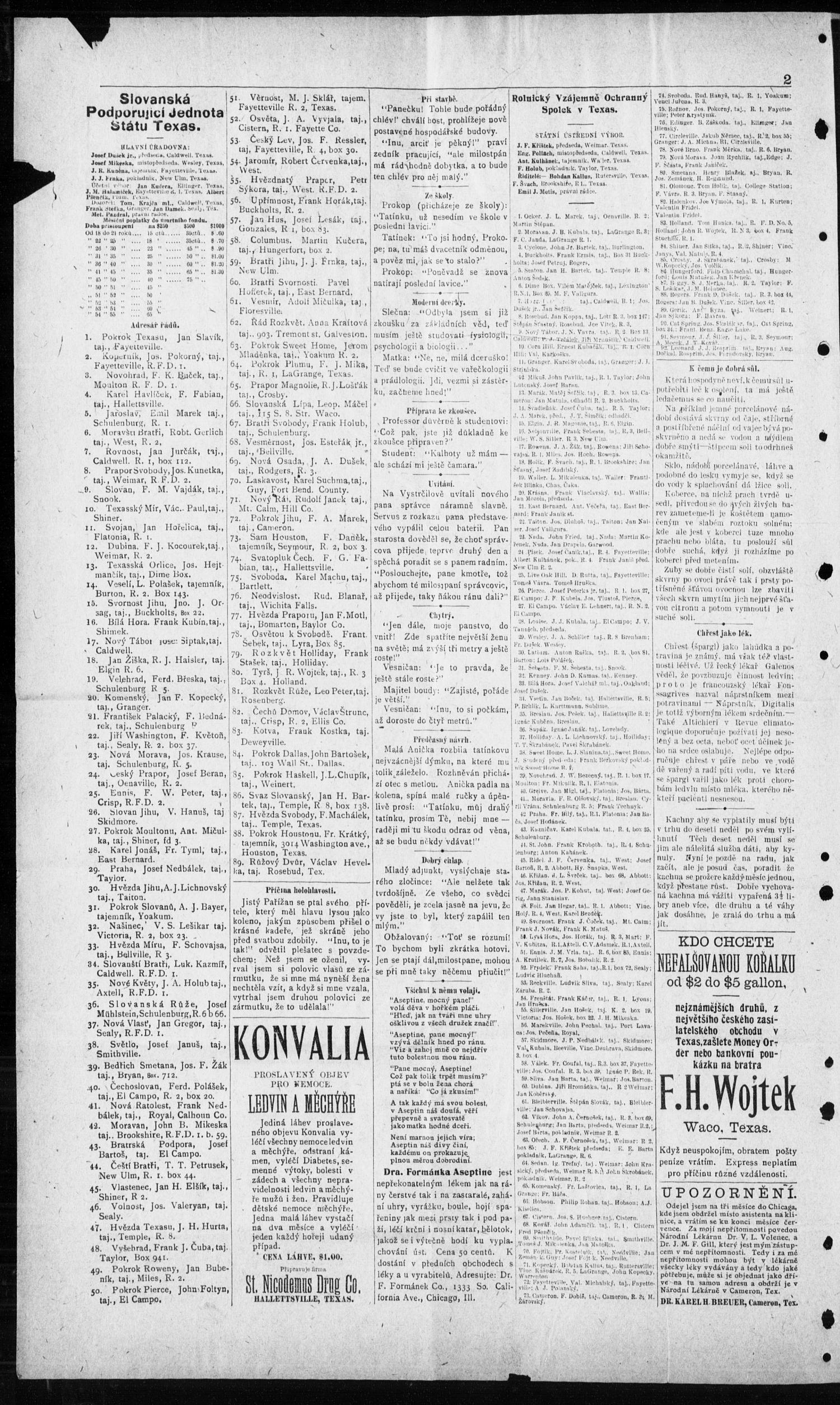 Obzor. (Hallettsville, Tex.), Vol. 19, No. 43, Ed. 1 Thursday, May 26, 1910                                                                                                      [Sequence #]: 2 of 8
