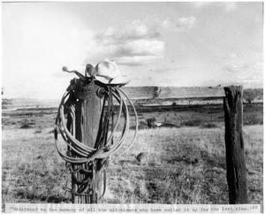 Primary view of object titled '[Cowboy hat, spurs, and rope]'.
