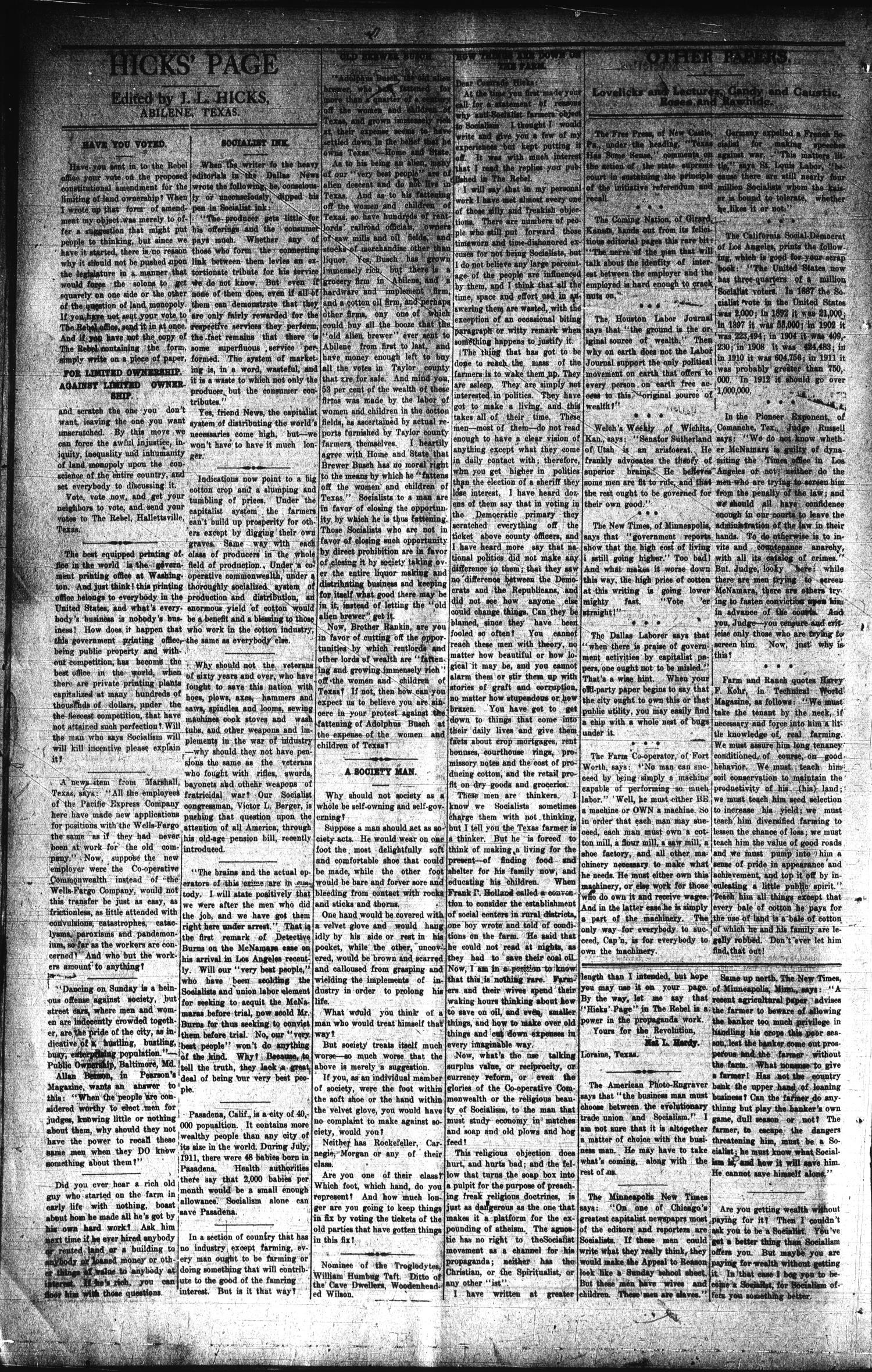 The Rebel (Hallettsville, Tex ), Vol  [1], No  7, Ed  1