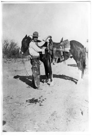 Primary view of object titled '[Presidio County cowboy of early 1900s]'.