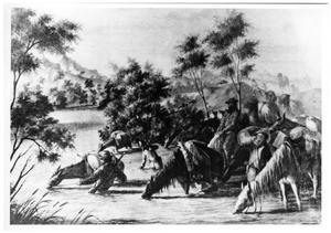 Primary view of object titled '[Riders, horses, and camels at a watering hole in Texas]'.