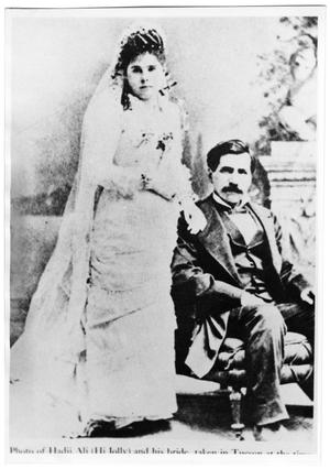 "Primary view of object titled '[Wedding photo of Hadji ""Hi Jolly"" Ali and Gertrudis Serna]'."