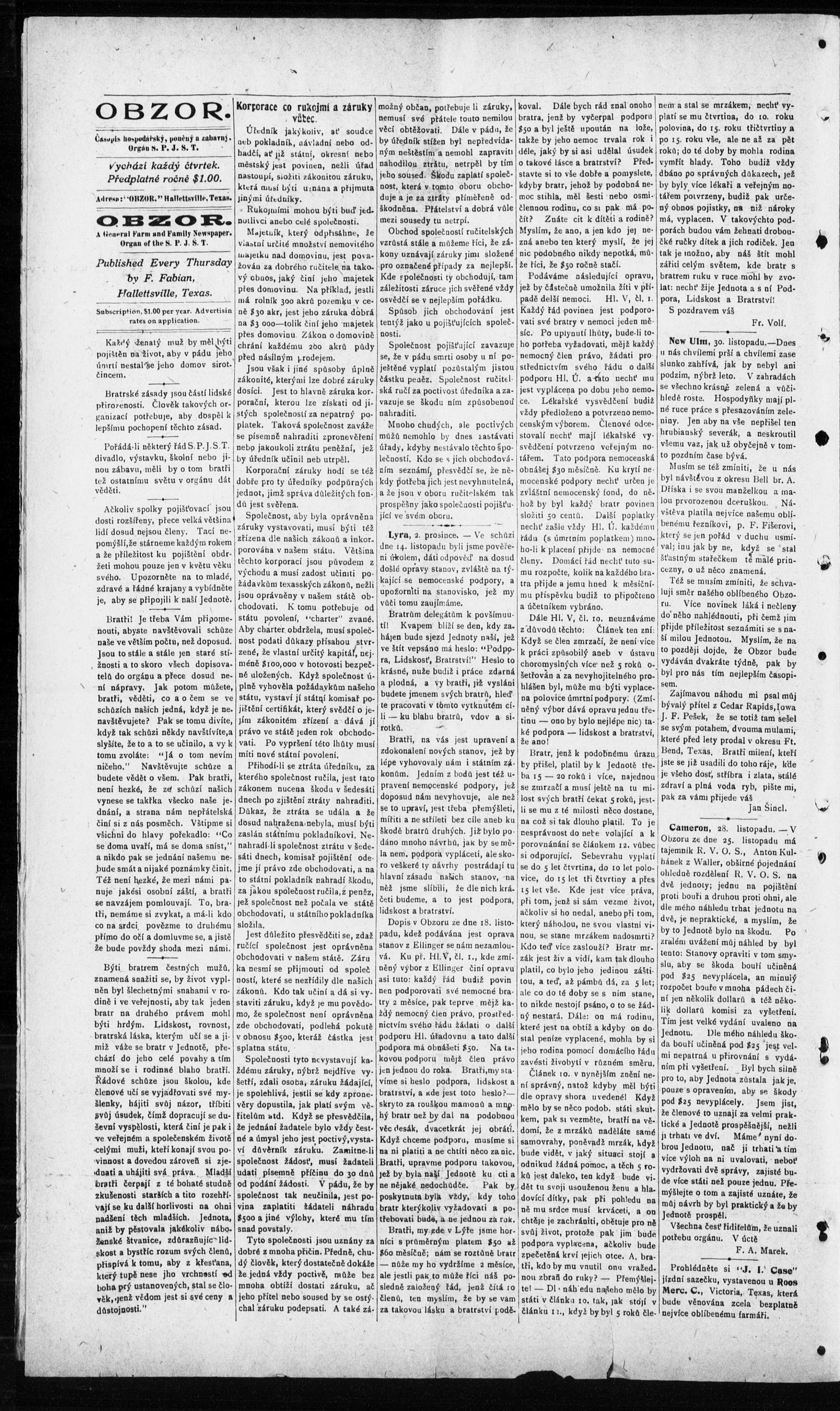 Obzor. (Hallettsville, Tex.), Vol. 19, No. 19, Ed. 1 Thursday, December 9, 1909                                                                                                      [Sequence #]: 4 of 8