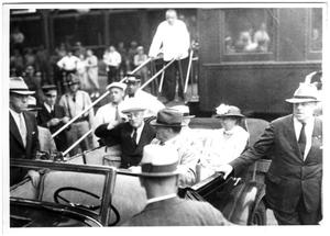 Primary view of object titled '[Franklin and Eleanor Roosevelt riding in car]'.