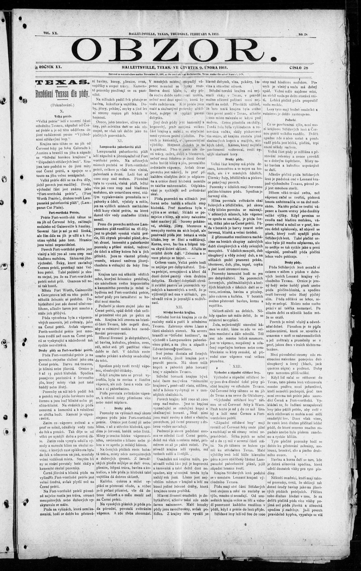 Obzor. (Hallettsville, Tex.), Vol. 20, No. 28, Ed. 1 Thursday, February 9, 1911                                                                                                      [Sequence #]: 1 of 12