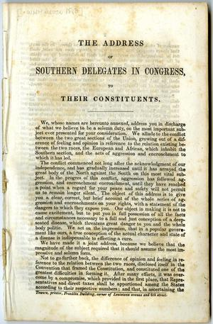 The address of southern delegates in Congress to their constituents.