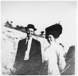Primary view of object titled '[James Cass and Kathryn Cass on a Sunday walk]'.