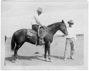 Primary view of object titled '[Cole and Bug Means with roping horse]'.