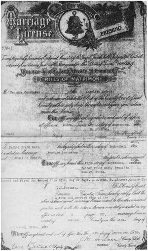 Primary view of object titled '[Ventura Contreras marriage license]'.