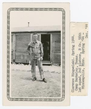 Primary view of object titled '[Ringwelski Outside Barracks]'.