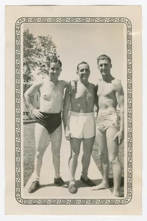Primary view of object titled '[R. Natopi, Winston, and Dan Melli Wearing Swim Trunks]'.