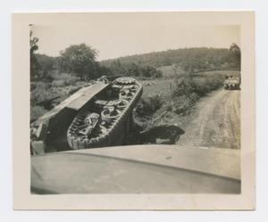 Primary view of object titled '[Overturned M-5 Tank]'.