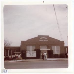 Primary view of object titled '[Marfa High School featuring the J.E. Gregg Auditorium ]'.