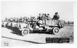 Primary view of object titled 'Transporting soldiers from Marfa to border by US Army trucks'.
