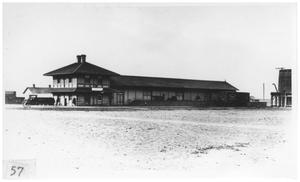 Primary view of object titled '[Early railroad station in Marfa, Texas]'.