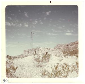 Primary view of object titled '[Windmill and ruins in Big Bend]'.