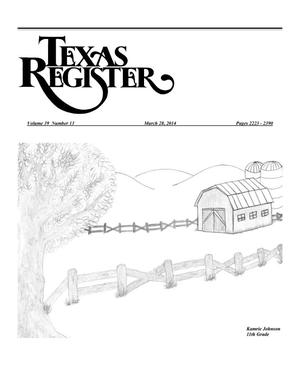 Primary view of object titled 'Texas Register, Volume 39, Number 13, Pages 2223-2390, March 28, 2014'.