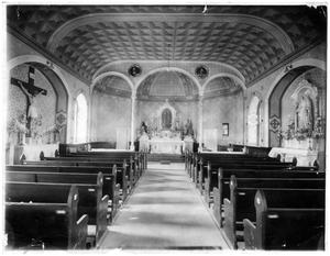 Primary view of object titled '[Interior of St. Mary's Catholic church in the late 1920s]'.