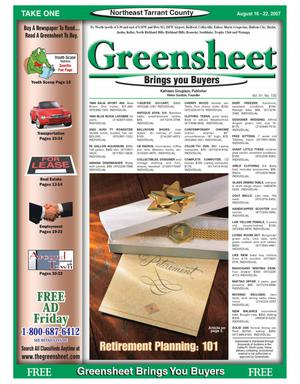 Primary view of Greensheet (Fort Worth, Tex.), Vol. 31, No. 130, Ed. 1 Thursday, August 16, 2007