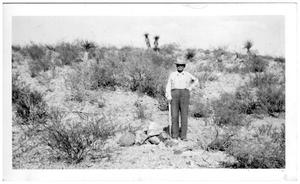Primary view of object titled '[Mr. W.H. Cleveland near Ruidosa Hot Springs]'.