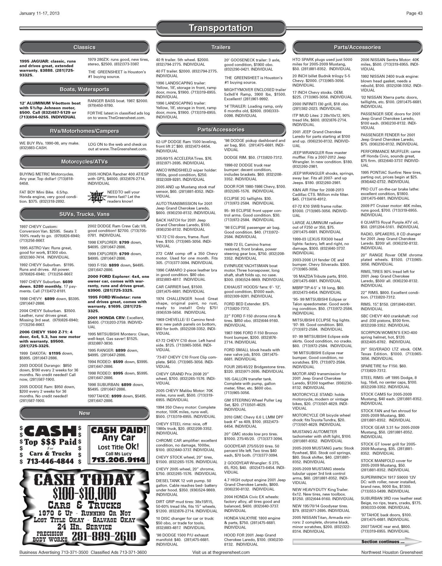 The Greensheet (Houston, Tex ), Vol  43, No  599, Ed  1