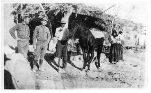 Primary view of object titled 'Jose and Guadelupe Chavarria with Cavalry Soldiers'.