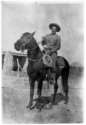 Primary view of object titled '[Natividad Vasquez Jr. sitting on a horse]'.