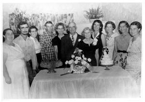 Primary view of object titled '[Wedding anniversary of Bob and Erin Carr with children]'.