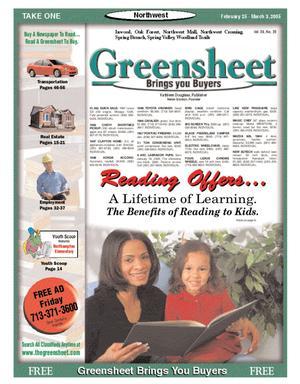 Primary view of Greensheet (Houston, Tex.), Vol. 36, No. 35, Ed. 1 Friday, February 25, 2005
