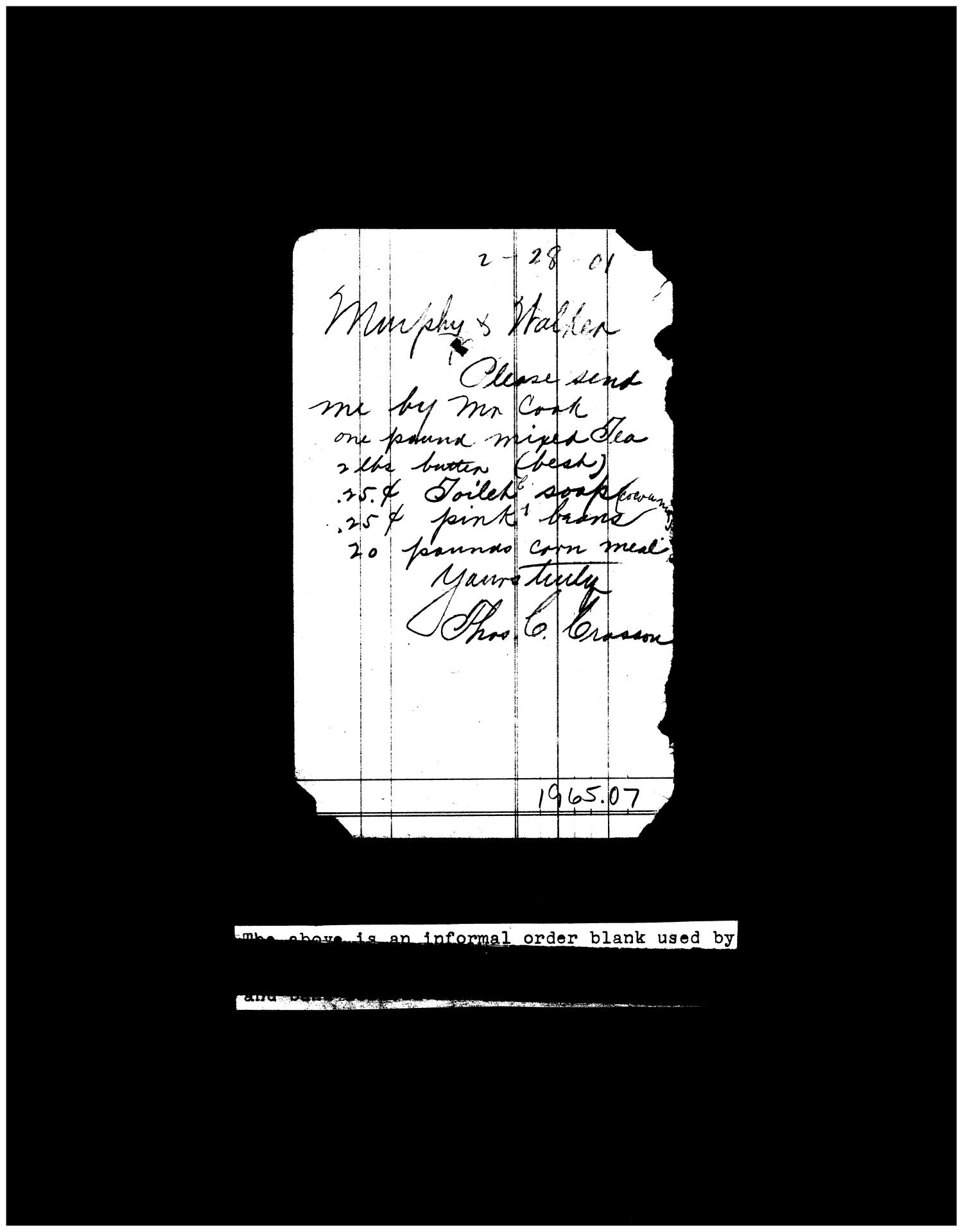 1901 store order of Thomas Crosson sent to Murphy & Walker bank                                                                                                      [Sequence #]: 1 of 1
