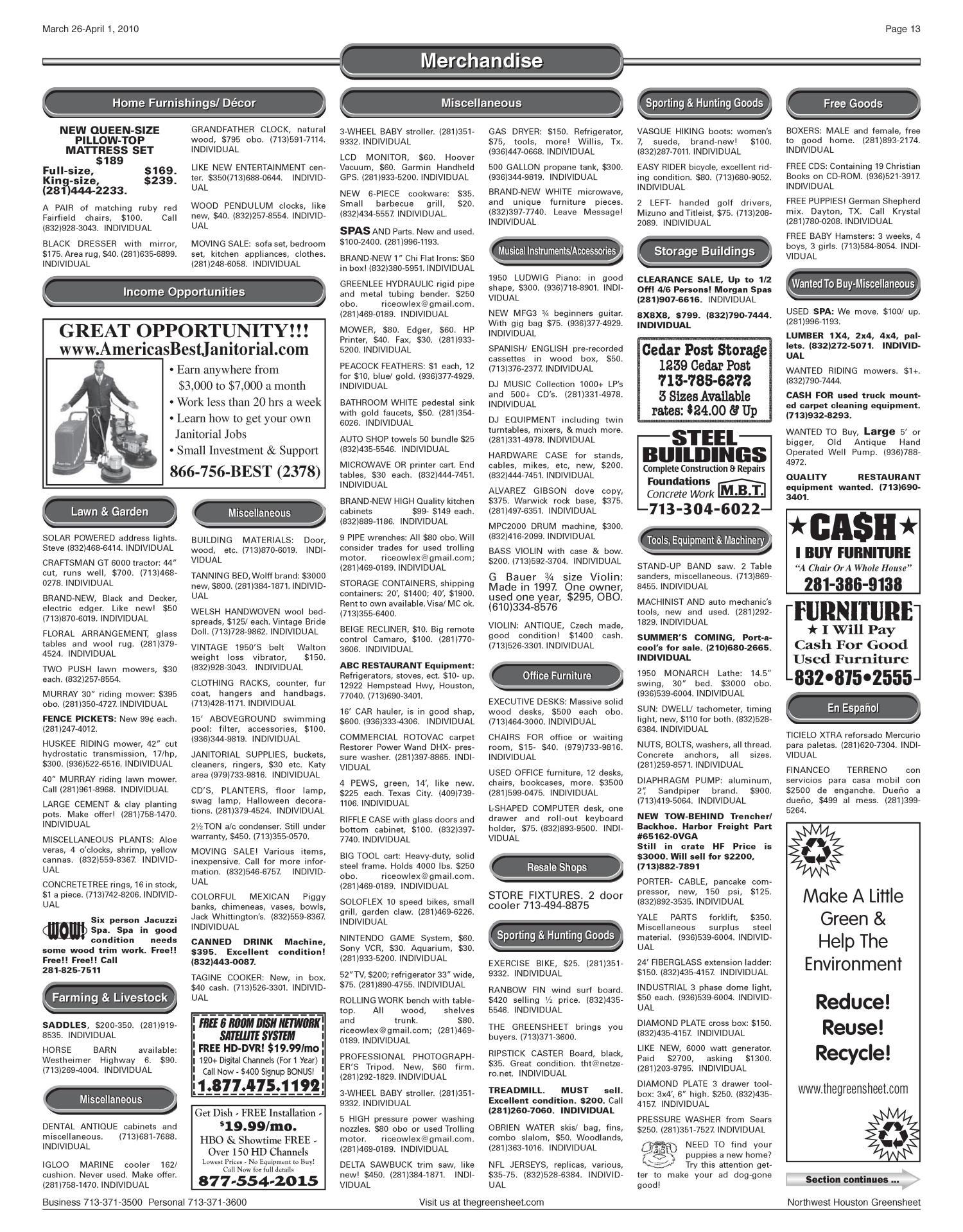 The Greensheet (Houston, Tex ), Vol  41, No  95, Ed  1