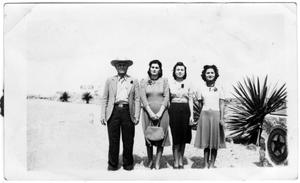 Primary view of object titled '[Jesus Cabezuela, Catalina Cabezuela and others on U.S. 90]'.