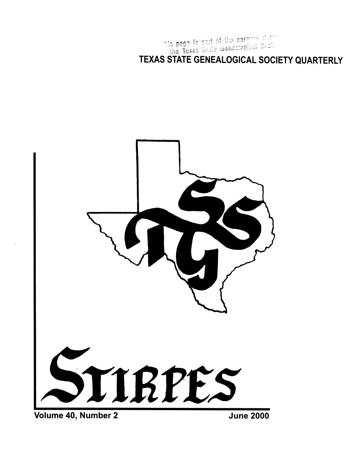 Stirpes, Volume 40, Number 2, June 2000                                                                                                      Front Cover